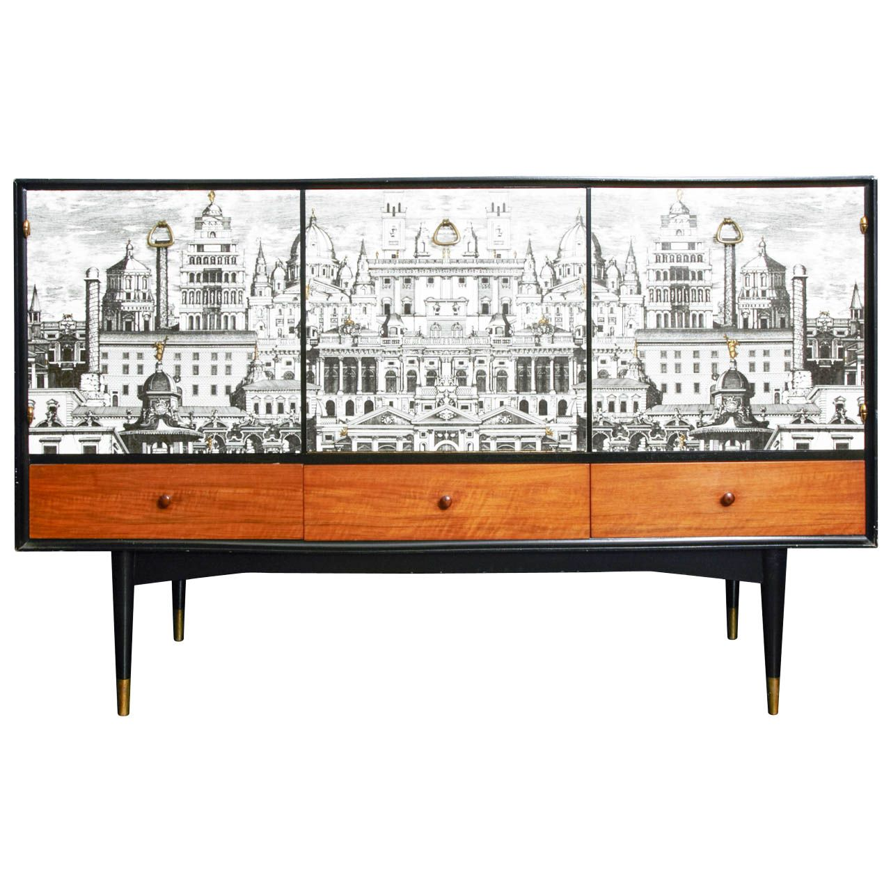 Fan Muebles Rare Circa 1950 Buffet With A Quotrome Quot Decor By Quotfornasetti