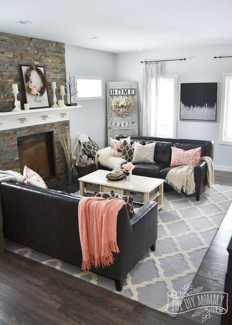 A Black  Blush Pink Living Room  DIY Pom Pom Heart