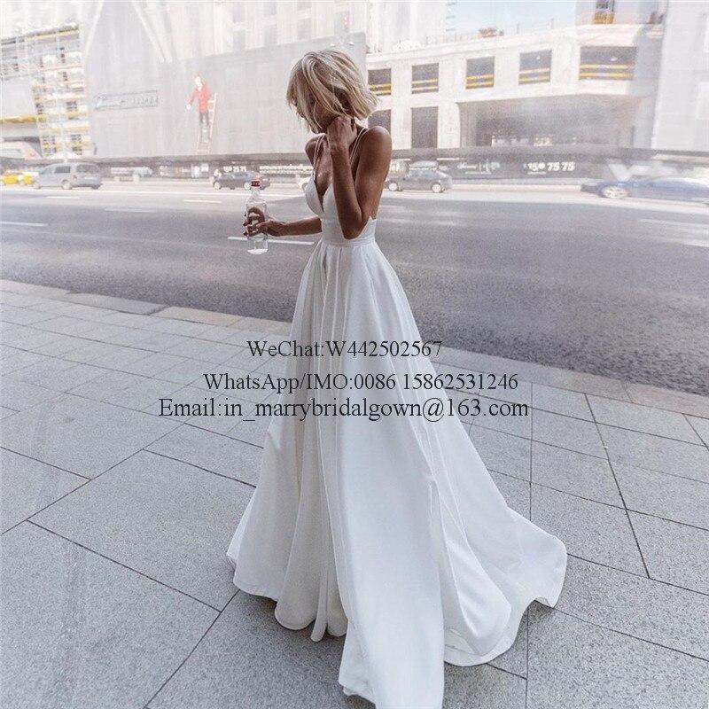 New Plus Size Cheap Beach Wedding Dresses 2021 Vestido De Novia Modest Long Satin Greek Style Boho White Beach Wedding Dress White Bridal Gown Wedding Dresses