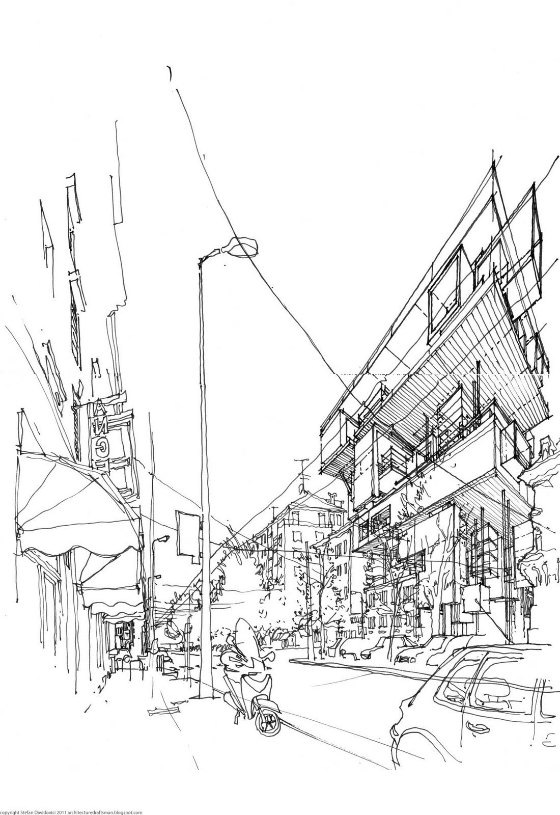 The Architecture Draftsman Perspective Sketch Architecture Drawing Architect Drawing