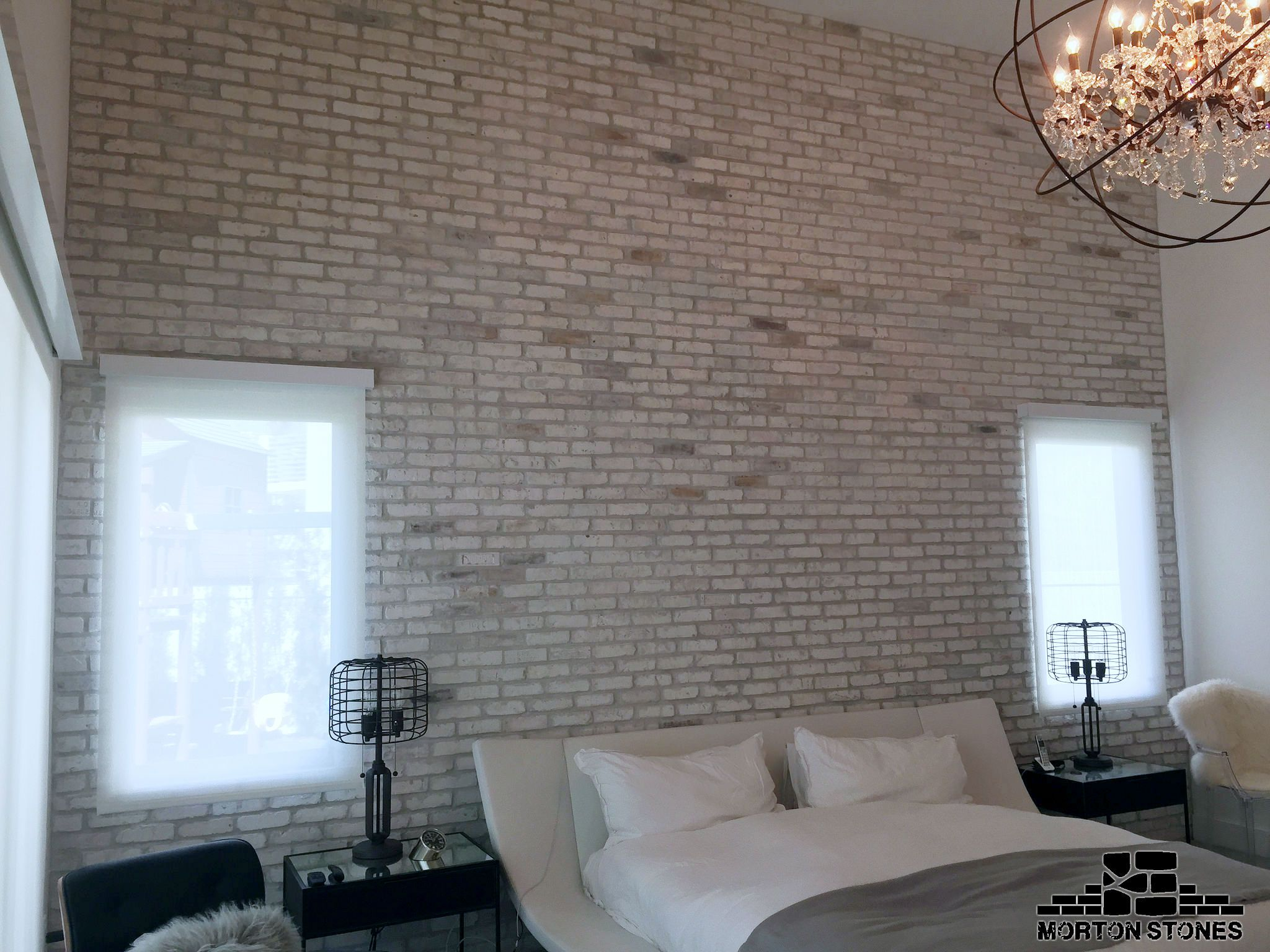 The White Brick Veneer Wall Creates A Cozy Atmosphere Mortonstones Brick Tiles Rustic Home Decor Brick Brick Veneer Wall White Brick Walls Brick Veneer