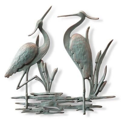 Unbranded Double Garden Heron Wall Plaque 53026 The Home Depot Outdoor Metal Wall Art Wall Plaques Outdoor Wall Art