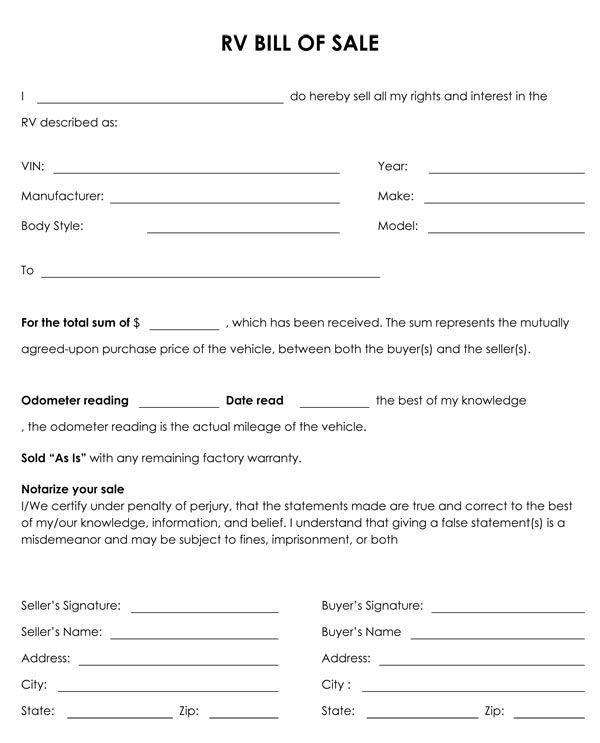 Printable Sample Champer Bill of Sale Form Laywers Template - dmv bill of sale
