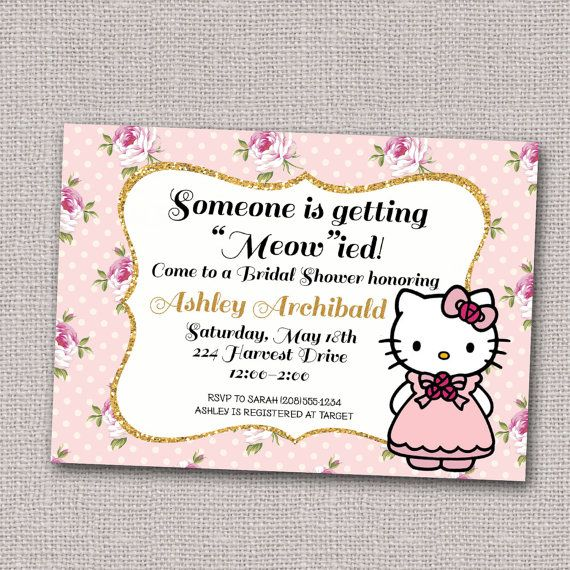 Hello Kitty Wedding Shower Invitation Bridal By Lucky7dsigns