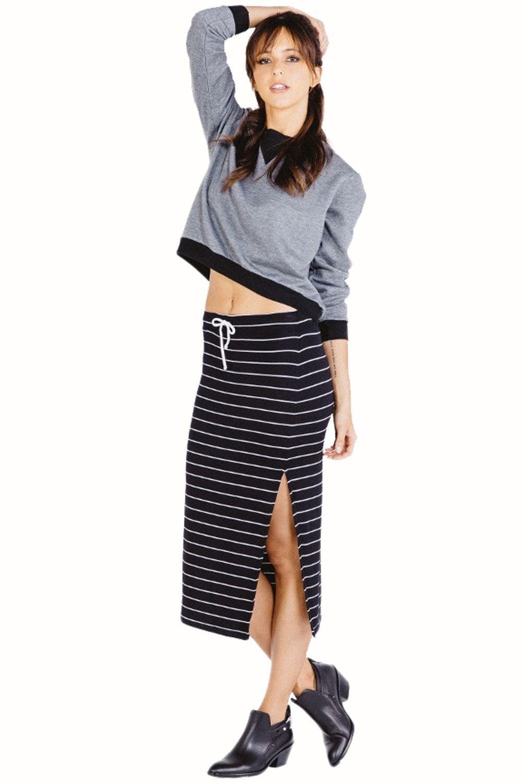 Jodi Midi Skirt in Black White