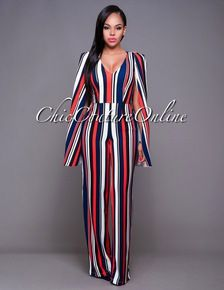 e8380078db Blake Red Navy-Blue Stripes Cape Jumpsuit