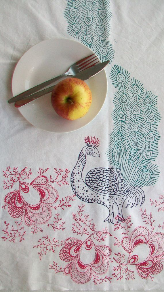 Hand block printed tea towel, Peacock Blossom