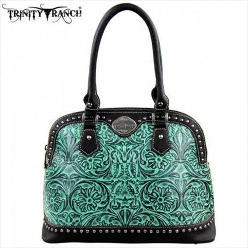 Tooled Leather Handbag - Turquoise