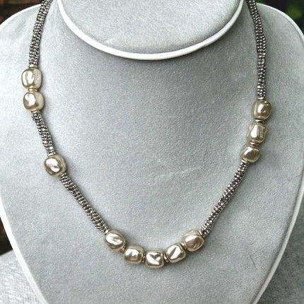 Vintage Pearl and Silver Beaded Necklace