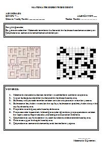 7 Sinif Matematik Proje ödevleri Ortaokul Matematik Ortaokul