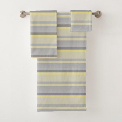 Gray Yellow Stripes Bath Towel Set Zazzle Com Striped Bath Towels Towel Set Bath Towel Sets