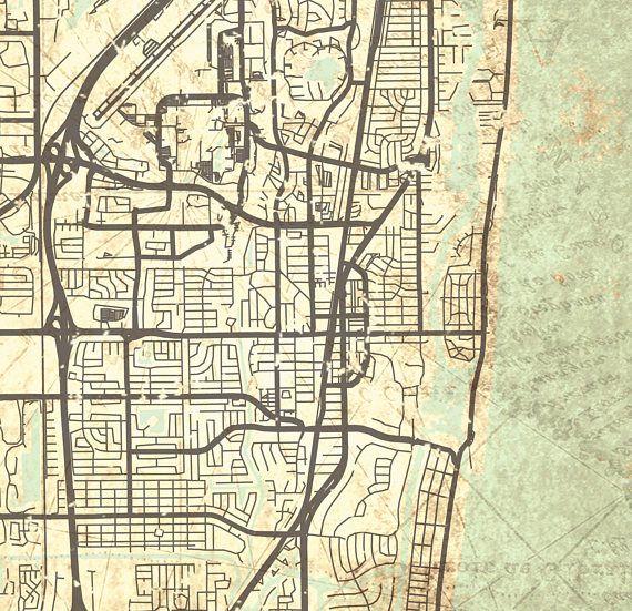 Map Of Boca Raton Florida.Boca Raton Fl Canvas Print Florida Vintage Map City Map Town Plan