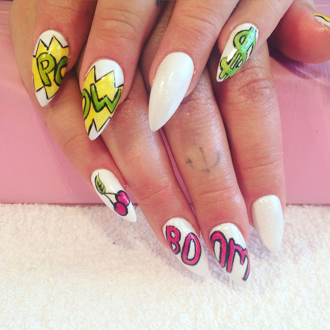 Hand Painted Pop Art Nails Done At California Nails