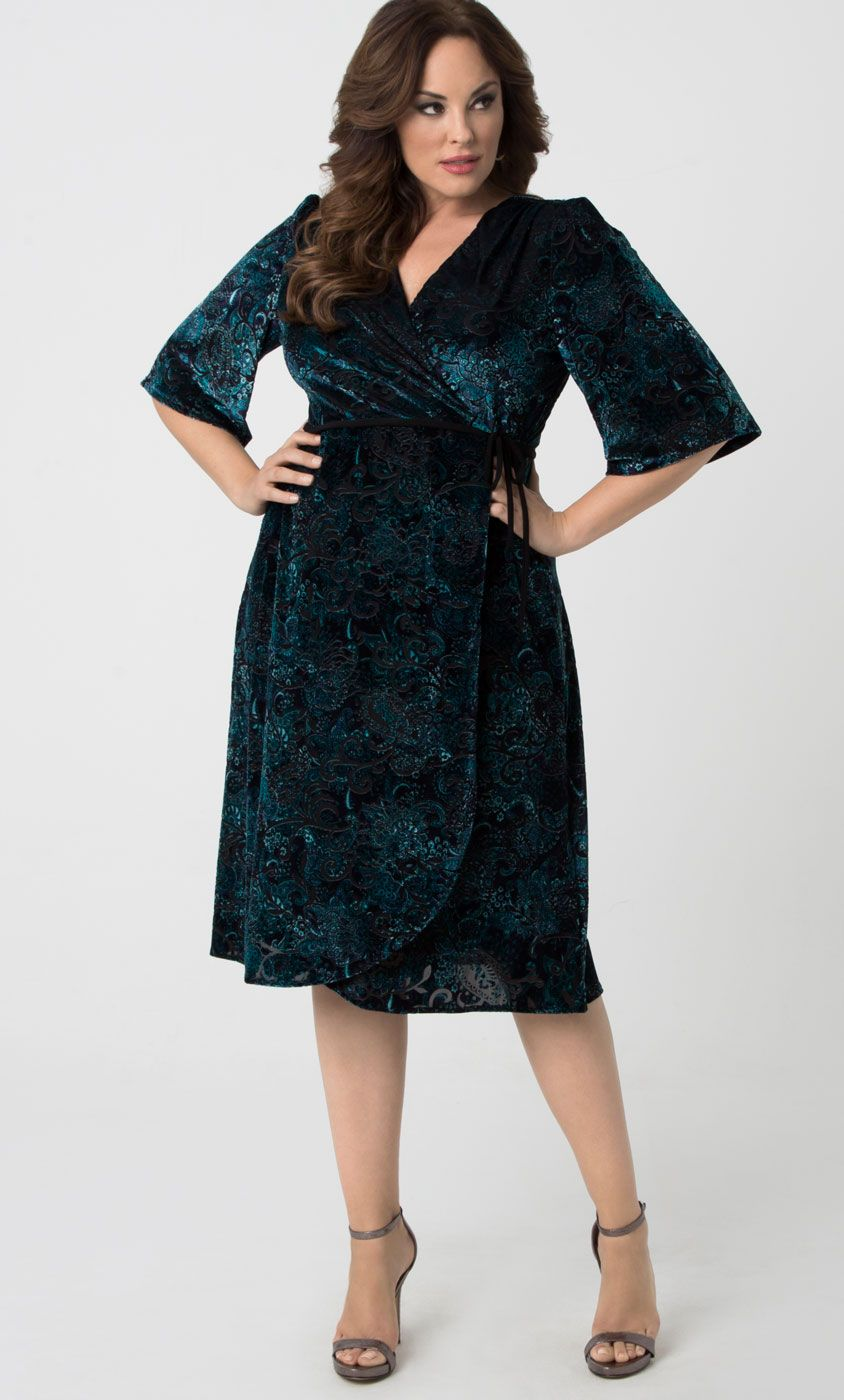 9df7776f720 Check out the deal on Vivica Velvet Wrap Dress at Kiyonna Clothing ...