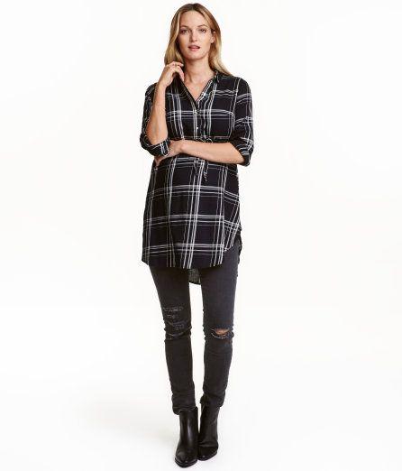 MAMA Cotton Tunic | Black/checked | Ladies | H&M US
