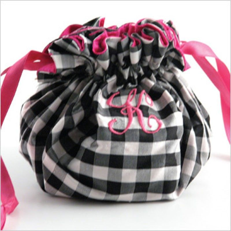 Susabelle Boutique Silk Gingham Personalized Jewelry Pouch Rollakeup Bags