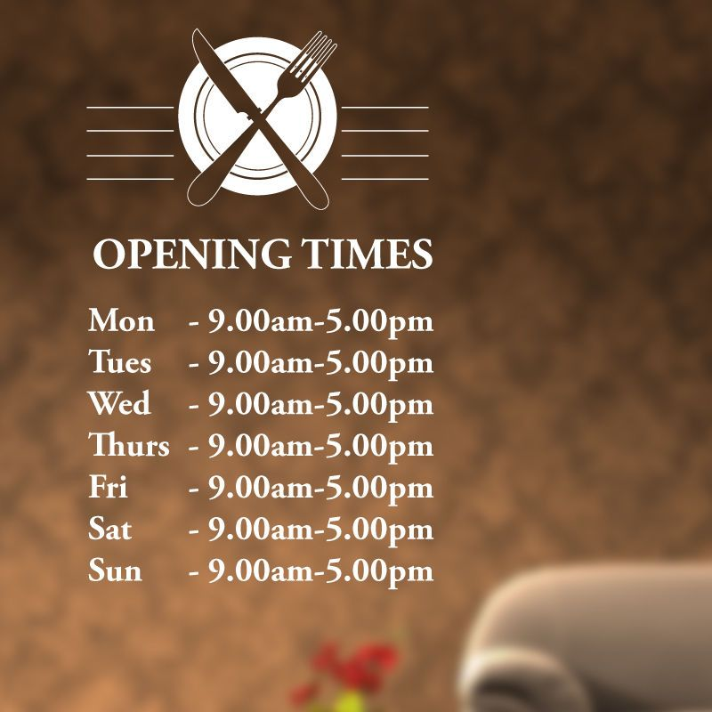 Custom opening times window sticker catering art cafe restaurant decals r20
