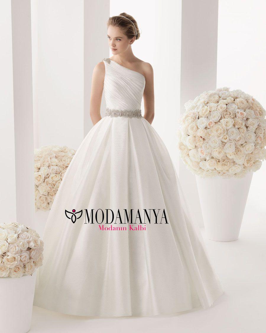 Wedding dressing gowns  TekOmuzluDrapeliGelinlikmodelleri copy  Dressing Up  Pinterest