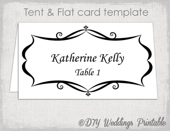 card templates quot placecard quot diy printable wedding escort cards black