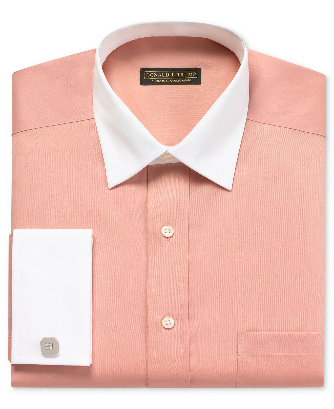 Donald j trump dress shirt solid long sleeve shirt with for Mens shirt french cuff