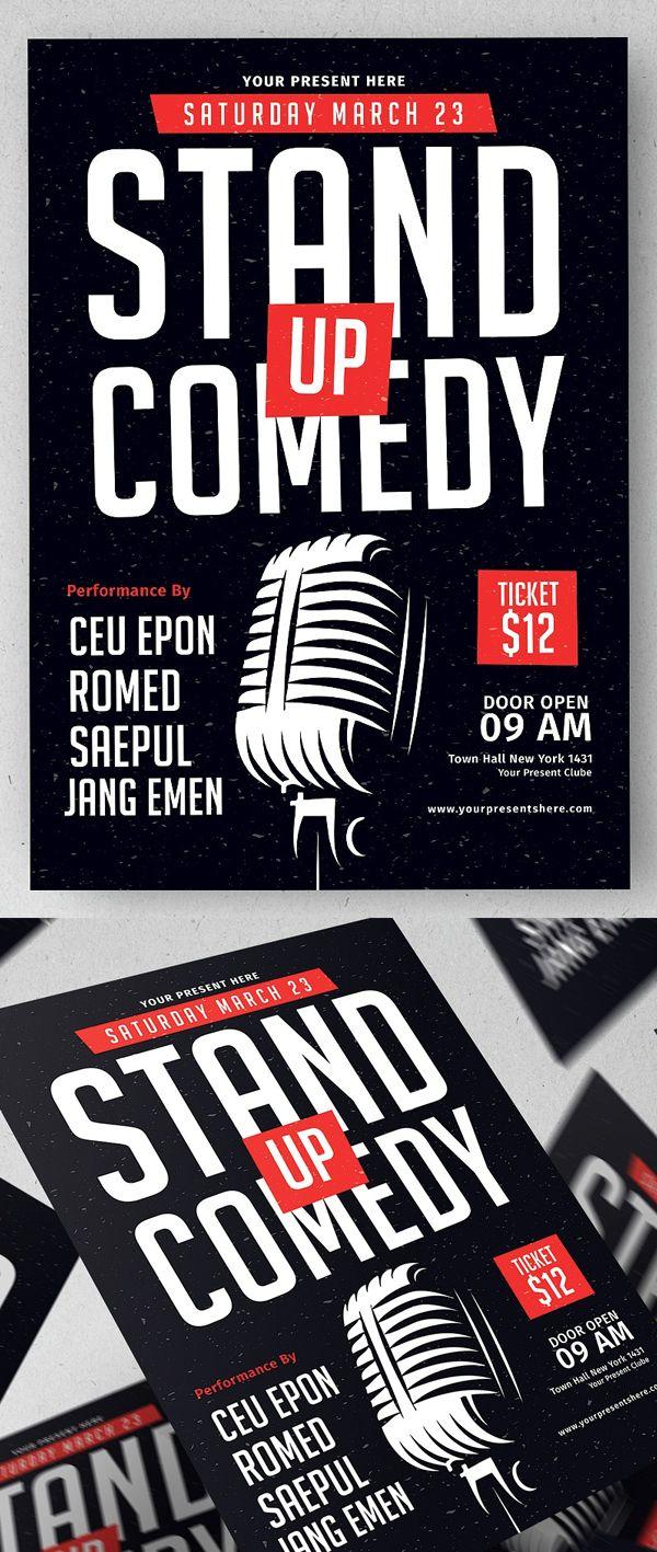 Stand Up Comedy Flyer Template #flyerdesign #flyertemplates ...