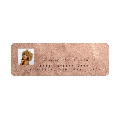 photo rose gold rsvp adress name metallic label return address