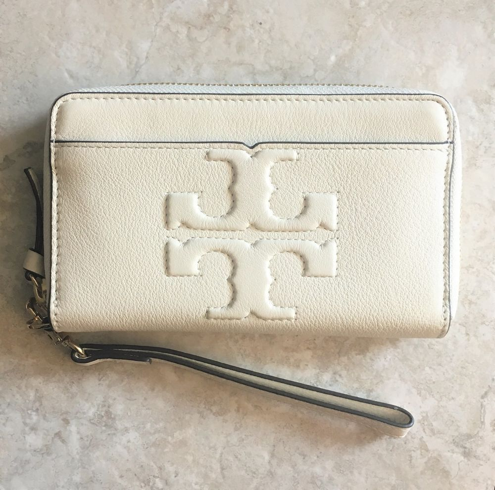 15fe2557c0f0 TORY BURCH Bombe T Zip Around Wristlet ~ New Ivory Pebbled Leather NWT  Wallet  ToryBurch  Wristlet