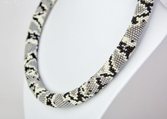 Necklace Grey python by MacmoisJewerly on Etsy