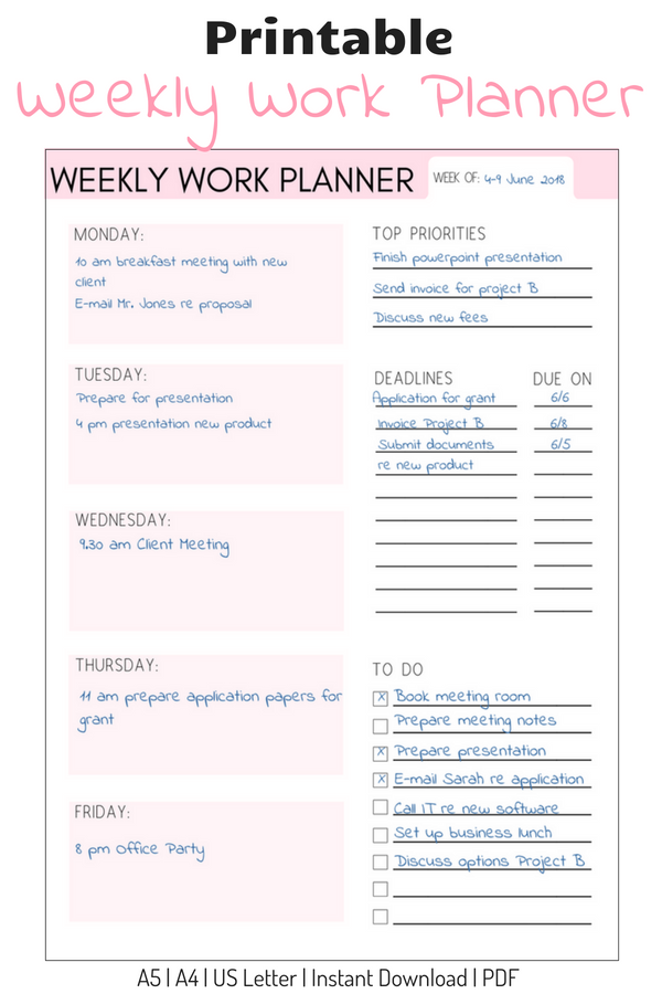 Weekly Work Planner Weekly Planner Work Organizer Work Calendar Printable Planner In 2020 Weekly Work Planner Work Planner Weekly Planner