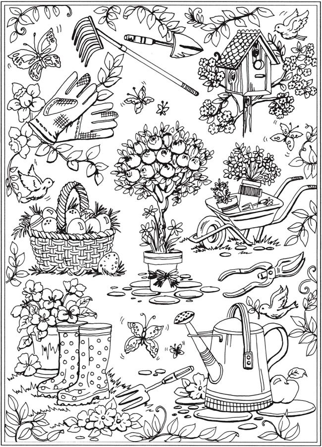 creative haven spring scenes coloring book dover publications