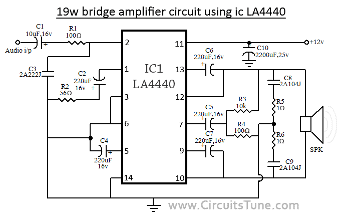 Bridge Amplifier Circuit using IC LA4440 | amp 19w in 2019