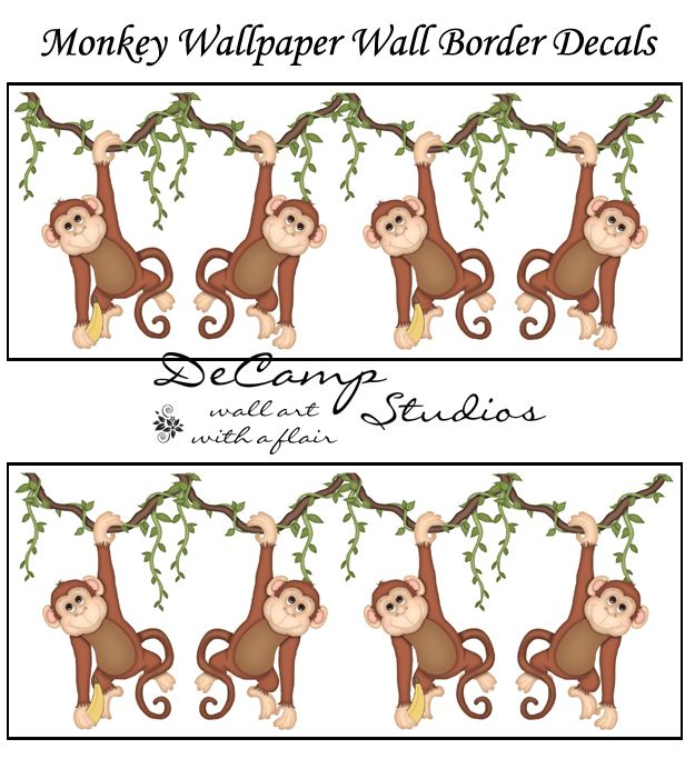 Jungle Monkey Wallpaper Border Wall Decals For Baby Boy Nursery Or Kids Room Decor Great