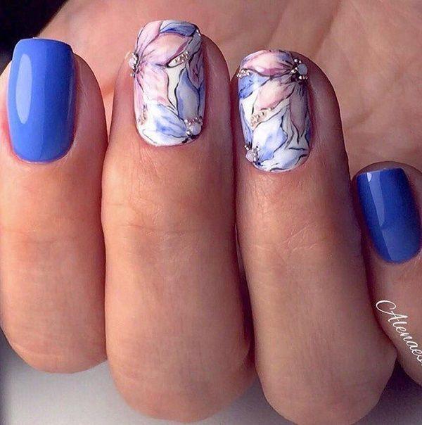 Photo of 65 blue nail art ideas