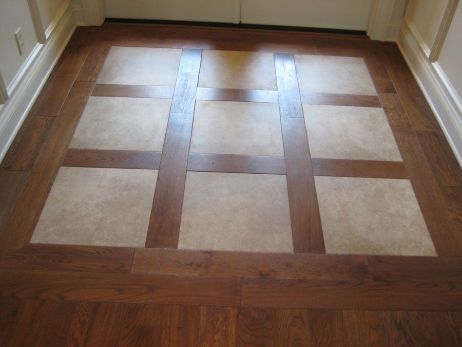 Wood Tile Foyer Design : Porcelain inlays in hardwood stunning entry of foyer