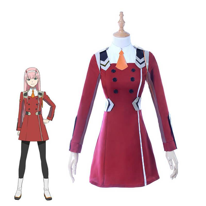DARLING in the FRANXX Zero Two CODE 02 Uniform Coat Cosplay Costume+Headwear