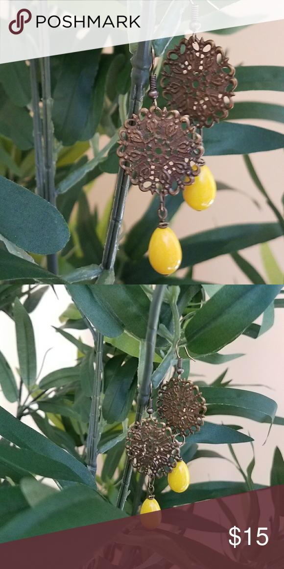 Filigree drop  earrings Handmade earrings yellow breads and bronze tone Jewelry Earrings