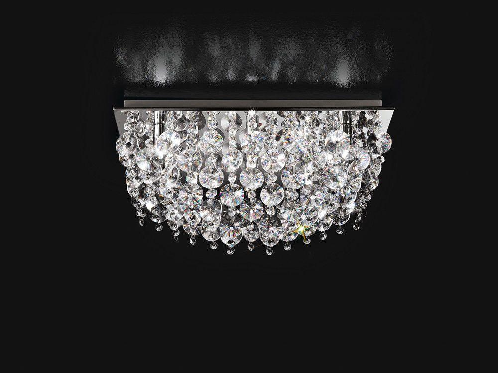 Plafoniera Quadrata Vetro : Plafoniera quadrata cromo lucido con cristalli perenz 5840 l 50 x