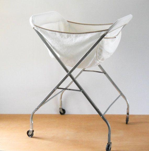 Vintage Rolling Laundry Basket Folding Rolling Laundry Cart