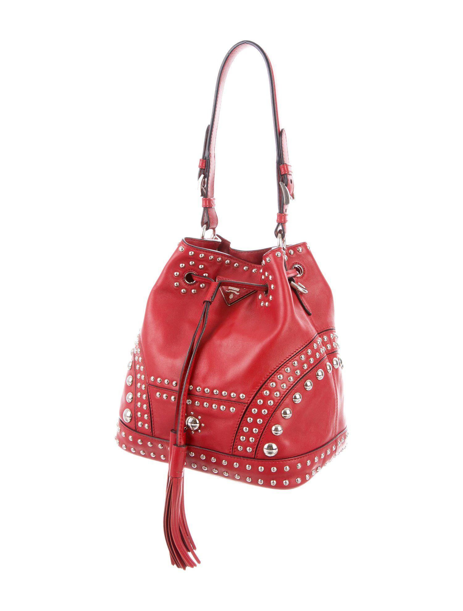 6fda09e059f903 Prada Soft Calf Studded Bucket Bag - Handbags - PRA237311 | The RealReal