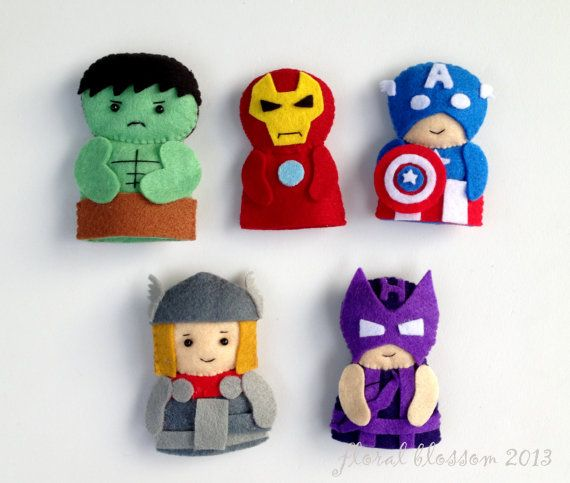 Digital Pattern: Superheroes Felt Finger Puppets | Títeres
