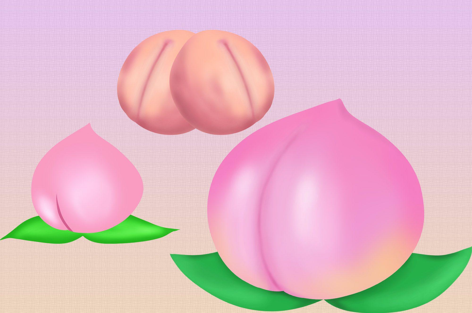 桃イラスト:かわいいプリプリのフルーツ素材!新鮮な桃の甘〜い食感が