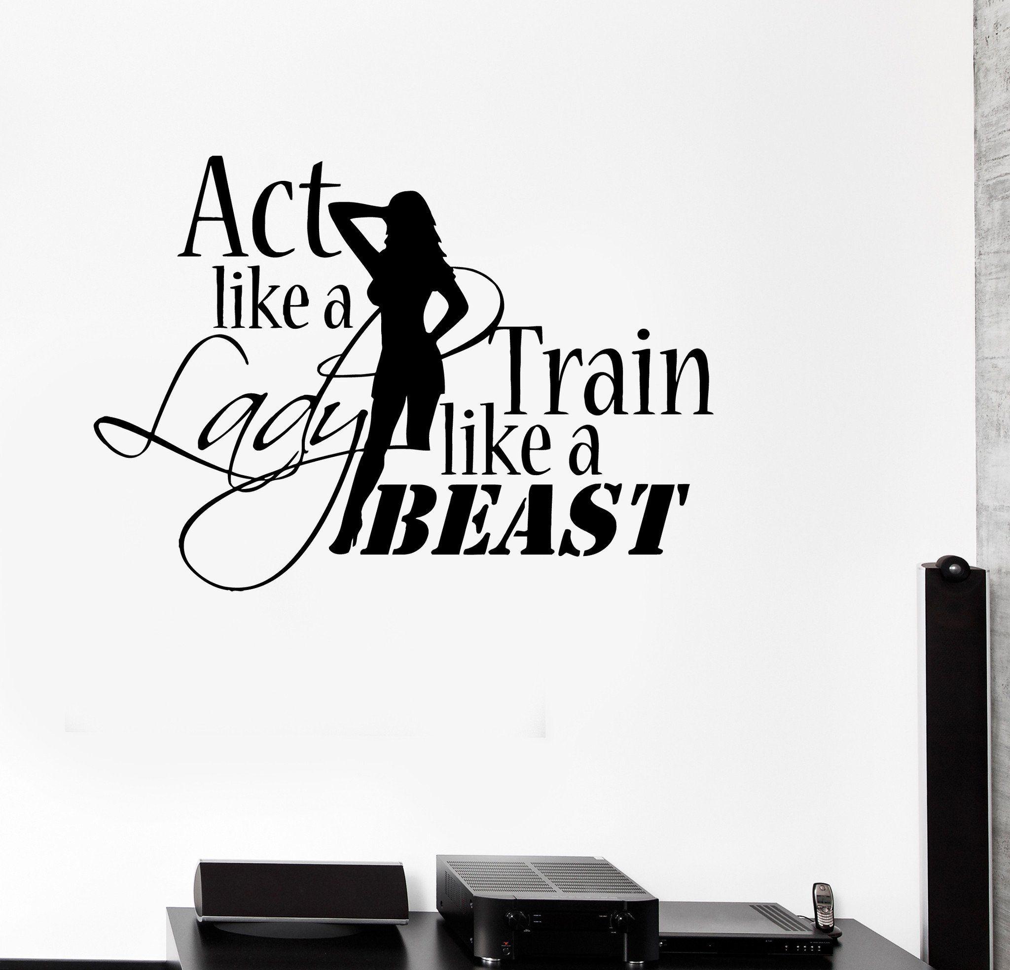 Vinyl decal sports quote motivation bodybuilding gym woman