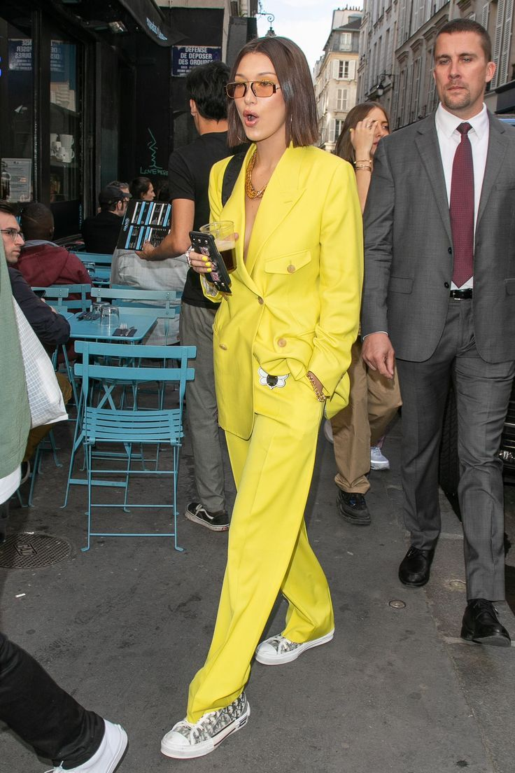 Photo of Bella Hadid Wore a Neon Yellow Suit Out Shopping in Paris