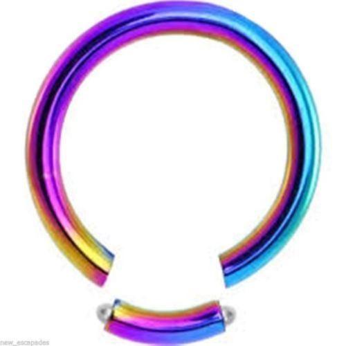 """Segment Seamless Ring 14 Gauge 7/16"""" Titanium Rainbow Body Jewelry"""
