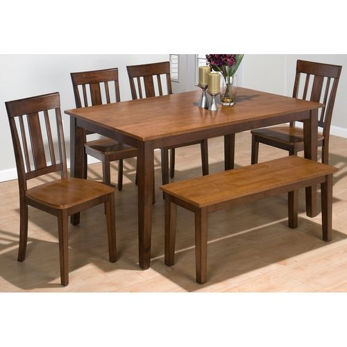 Shop For The Jofran Kura Espresso And Canyon Gold Rectangle Table Set With 4 Chairs Bench At Bullard Furniture