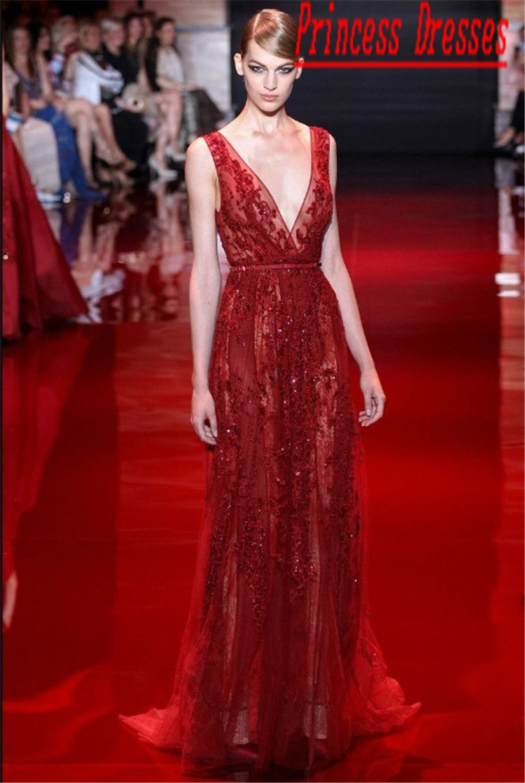 Elie Saab Dresses For Sale Designer Nude Applique Sleeveless Red ...