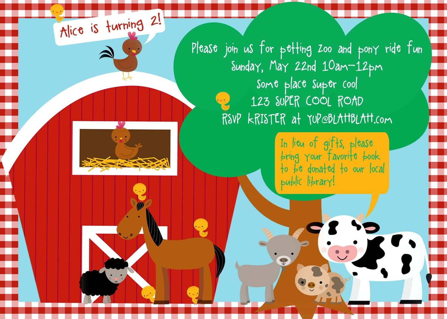 petting zoo farm birthday invitation DIY by WickedCraftyDesigns ...