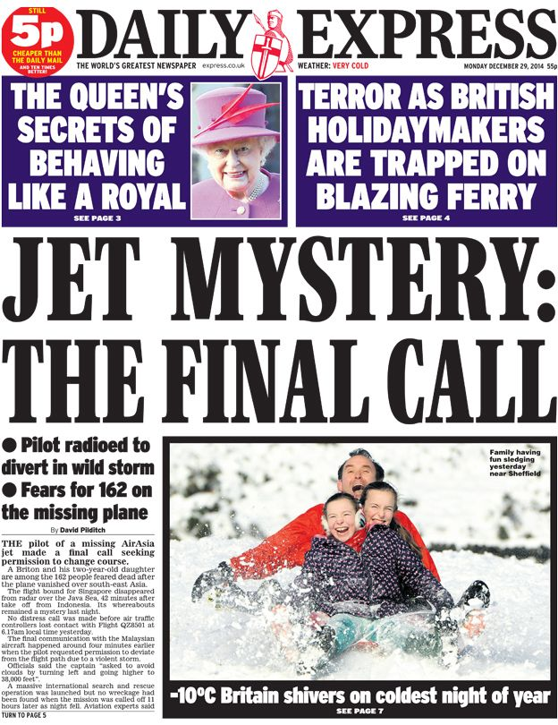 Daily Express front page, 29/12/14 Daily express, Trivia