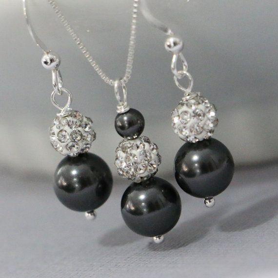 Swarovski Black Pearl Necklace And Earring By Alexandreasjewels