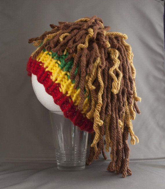 e1aa54a39f7 Rasta Hat Rasta Beanie with Dreads Knit by FiberFlowersAndBeads